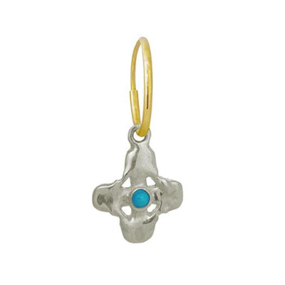 Tiny Signature Cross Earring with Turquoise-Brevard
