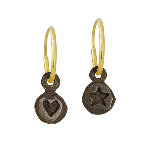 Oxidized Tiny Heart + Tiny Star Mismatch Earring Pair-Brevard