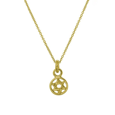 Gold Tiny Star of David Charm Necklace-Brevard