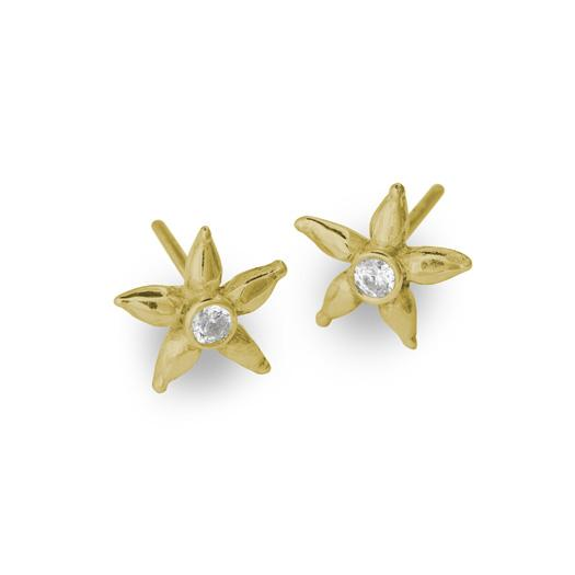 Gold Tiny Stella Stud Earring with Stone-Brevard