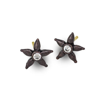 Oxidized Tiny Stella Stud Earring with Stone-Brevard