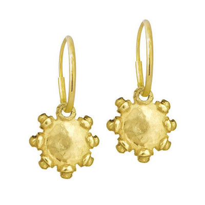 Gold Tiny Sun • Endless Hoop Charm Earring-Brevard