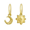Gold Tiny Lotus Moon + Tiny Sun Mismatch Earring Pair-Brevard