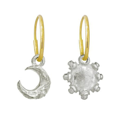 Tiny Lotus Moon + Tiny Sun Mismatch Earring Pair-Brevard