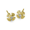 Gold Tiny Temple Cross Stud Earring with Stone-Brevard