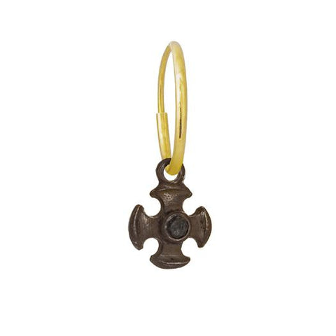 Black Diamond Tiny Temple Cross Earring-Brevard