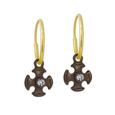 Oxidized Tiny Temple Cross with Stone • Endless Hoop Charm Earring-Brevard