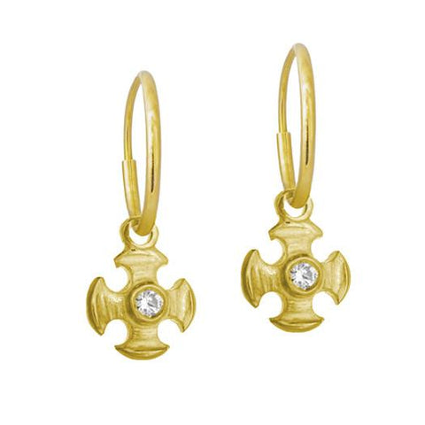 Gold Tiny Temple Cross Earring with Stone-Brevard