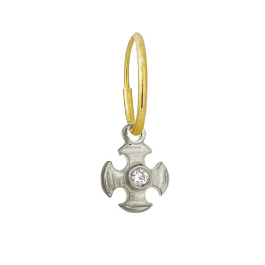 Tiny Temple Cross with Stone • Endless Hoop Charm Earring-Brevard