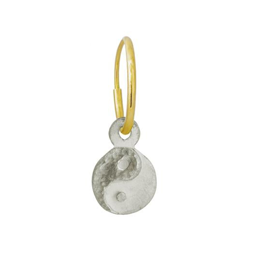 Tiny Yin Yang Coin • Endless Hoop Charm Earring-Brevard