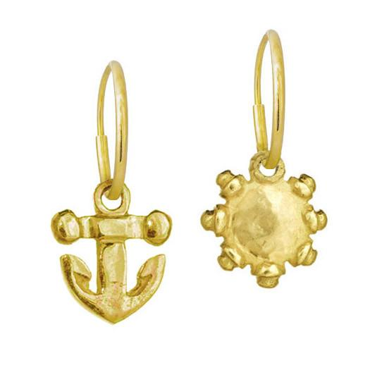Gold Tiny Anchor + Tiny Sun Mismatch Earring Pair-Brevard