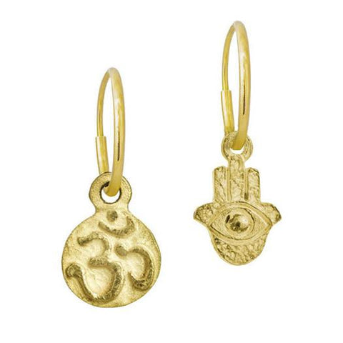 Gold Tiny Ohm + Tiny Hamsa Mismatch Earring Pair-Brevard