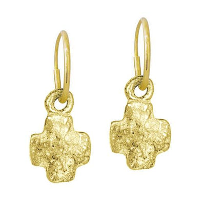 Gold Tiny Old Money Cruz • Endless Hoop Charm Earring-Brevard