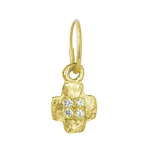 Gold Tiny Old Money Cruz with Stones • Endless Hoop Charm Earring-Brevard