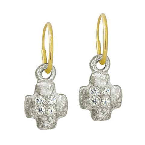 Tiny Old Money Cruz Earring with Stones-Brevard
