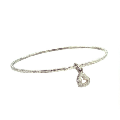 Tiny Old Money Heart Hammered Charm Bangle-Brevard