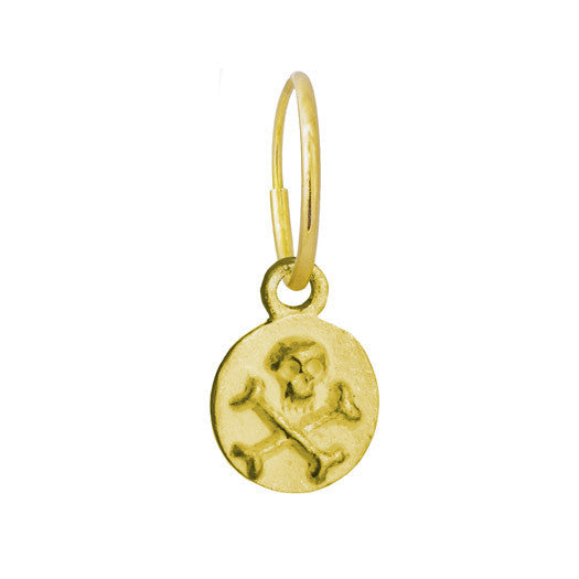 Gold Tiny Pirate Coin • Endless Hoop Charm Earring-Brevard