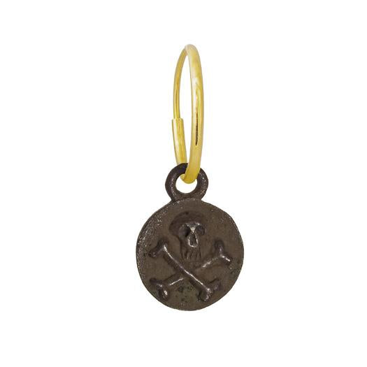 Oxidized Tiny Pirate Coin • Endless Hoop Charm Earring-Brevard