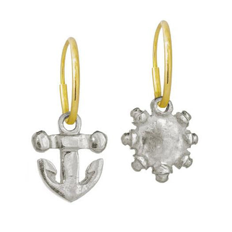 Tiny Anchor + Tiny Sun Mismatch Earring Pair-Brevard
