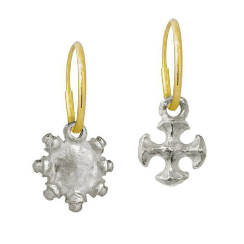Tiny Sun + Tiny Lotus Cross Mismatch Earring Pair-Brevard