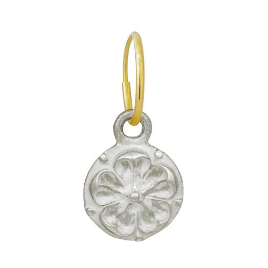 Tudor Rose Coin • Endless Hoop Charm Earring-Brevard