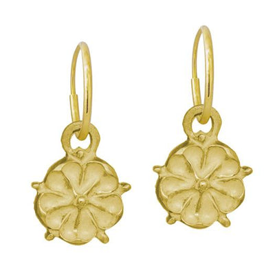 Gold Cutout Tudor Rose • Endless Hoop Charm Earring-Brevard
