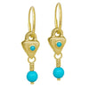 Gold Turquoise Triangle Drop • Endless Hoop Charm Earring-Brevard