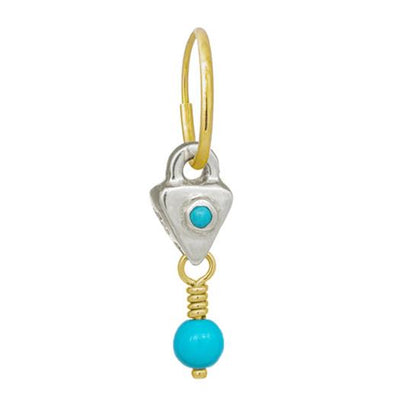Turquoise Triangle Drop • Endless Hoop Charm Earring-Brevard