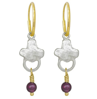 Venice with Garnet • Endless Hoop Charm Earring-Brevard