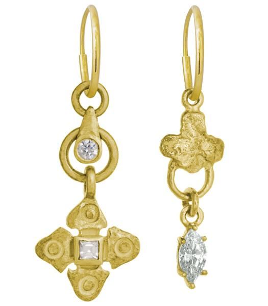 Gold Justine Drop + Venice Marquis Mismatch Earring Pair-Brevard