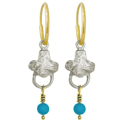 Venice with Turquoise • Endless Hoop Charm Earring-Brevard