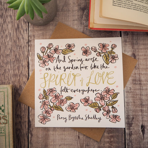 Literary Quote Spring Flowers Greetings Card - Literary Emporium