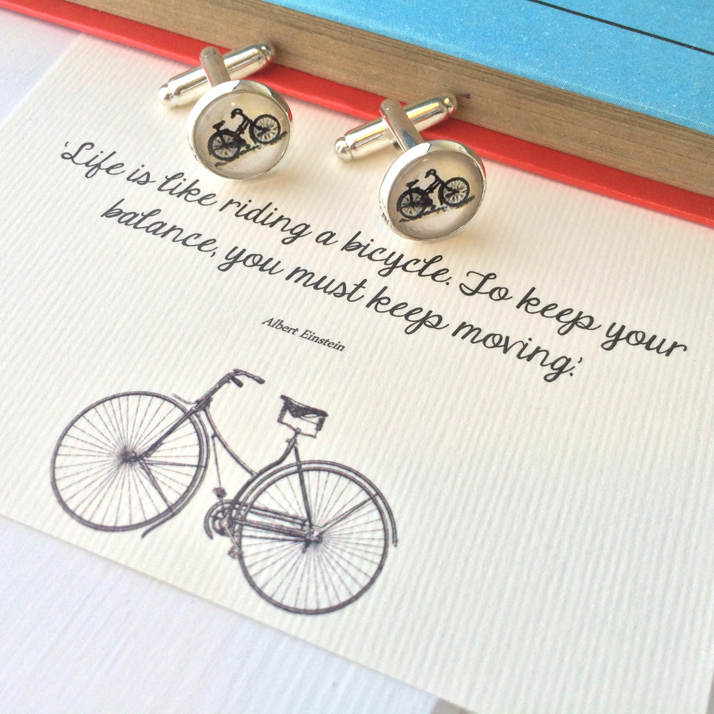 Einstein Quote Bicycle Cufflinks - Literary Emporium