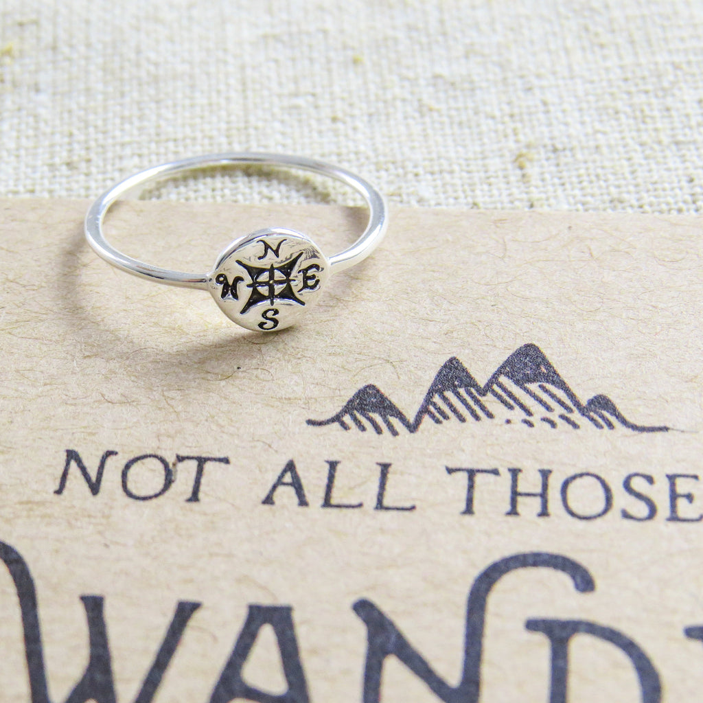 'Not All Who Wander' Silver Compass Ring - Literary Emporium