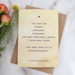 Literature Valentines Card F.Scott Fitzgerald Quote - Literary Emporium