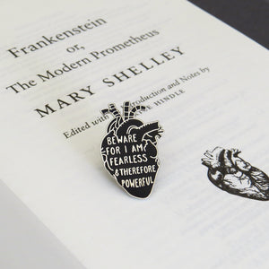 Frankenstein Anatomical Heart Enamel Pin - Gothic Literature Collection - Literary Emporium