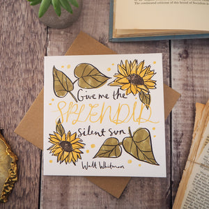 Literary Quote Sunflowers Greetings Card - Literary Emporium