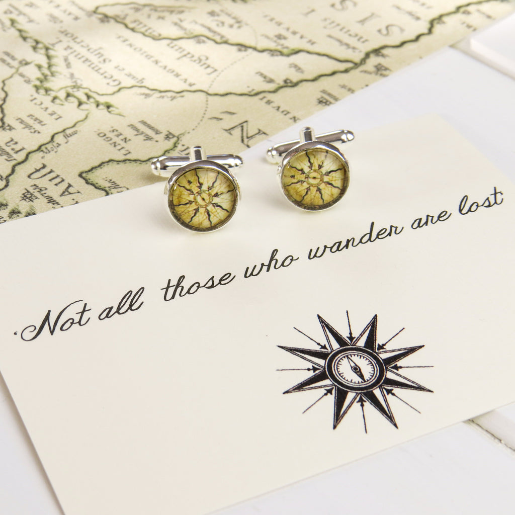 'Not All Who Wander…' Compass Cufflinks - Literary Emporium