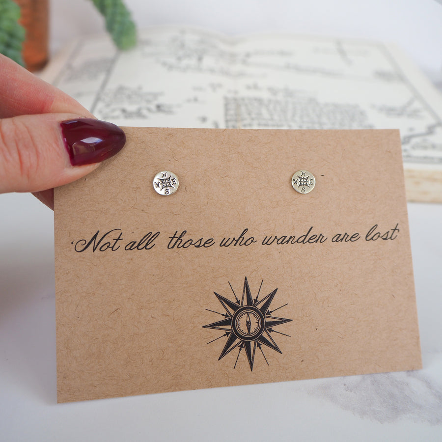 'Not All Who Wander…' Compass Earrings - Literary Emporium