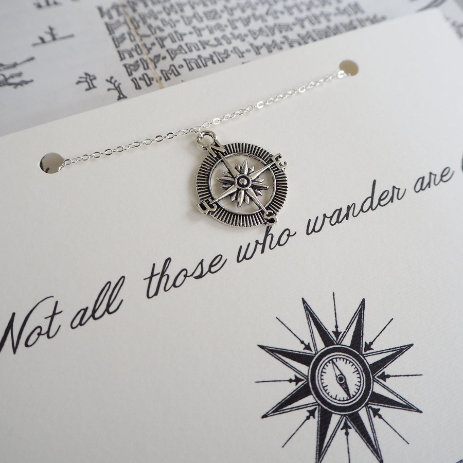 'Not All Who Wander…' Compass Necklace - Literary Emporium