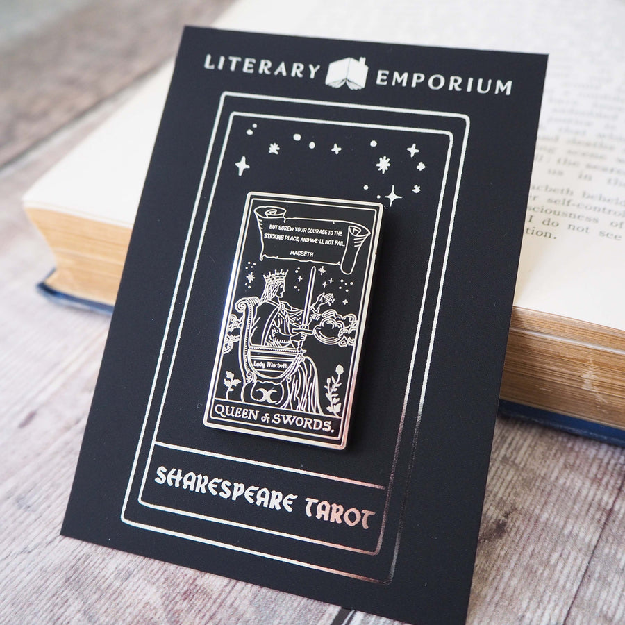 Lady Macbeth Tarot Enamel Pin - Queen of Swords - Shakespeare Tarot Collection - Literary Emporium