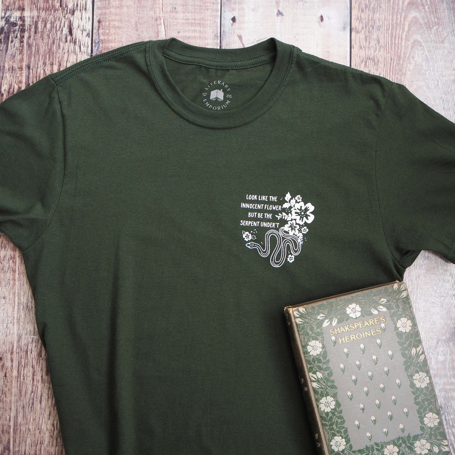 Lady Macbeth Green Serpent T-Shirt- Shakespeare's Heroines Collection - Literary Emporium