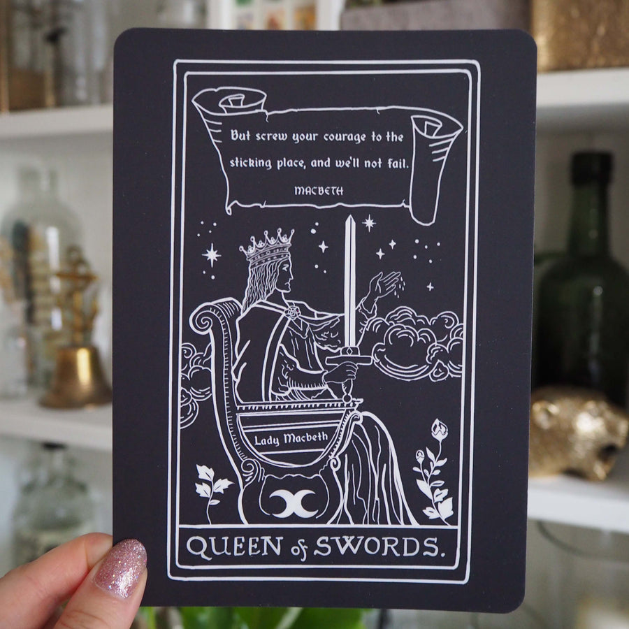 Lady Macbeth Tarot Card Mini Print - Queen of Swords - Shakespeare Tarot Collection - Literary Emporium