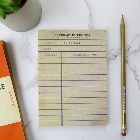 Library Card Notepad - Literary Emporium