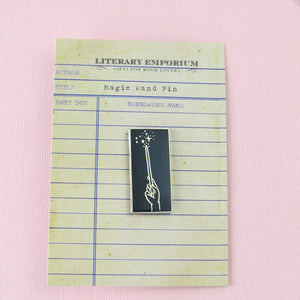 Magic Wand Enamel Pin - Black & Silver Lapel Pin - Literary Emporium