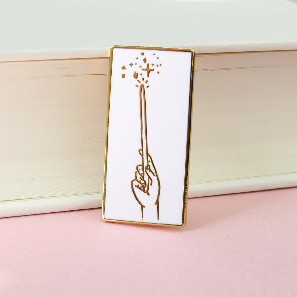 Magic Wand Enamel Pin - Rose Gold and White