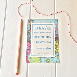 Vintage Map Travel Quote Postcard - Literary Emporium