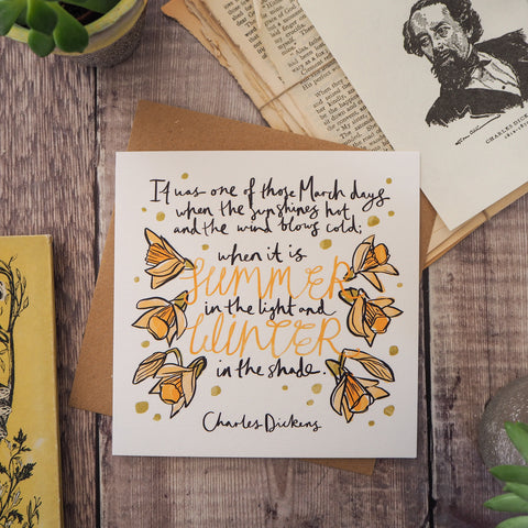 Charles Dickens March Birthday Card - Literary Emporium