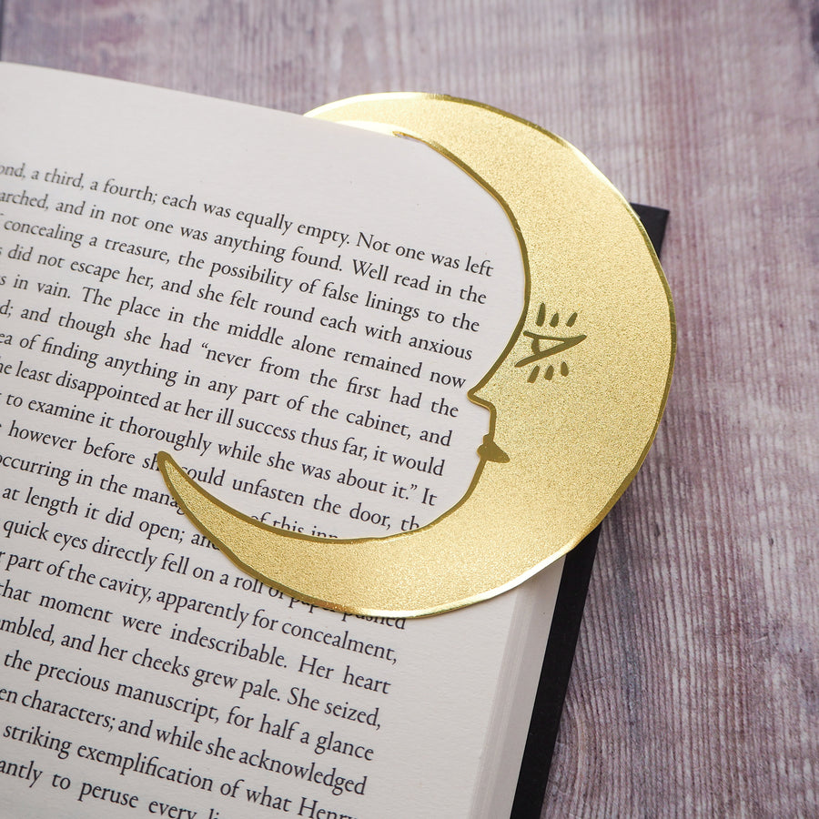 'Midnight Readers Club' Moon Brass Bookmark