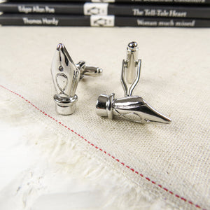 Silver Ink Pen Cufflinks - Literary Emporium